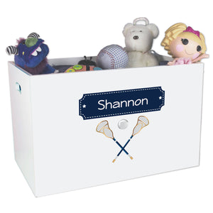 Open White Toy Box Bench with Lacrosse Sticks design