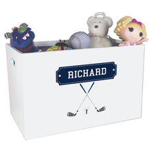 Open White Toy Box Bench with Golf design