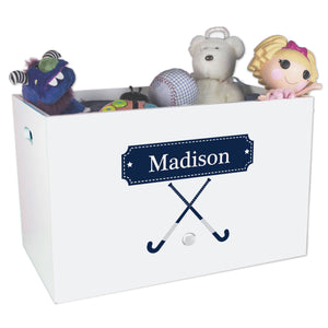 Open White Toy Box Bench with Field Hockey design