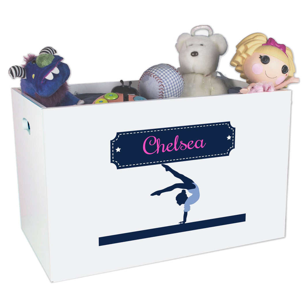 Open White Toy Box Bench with Gymnastics design
