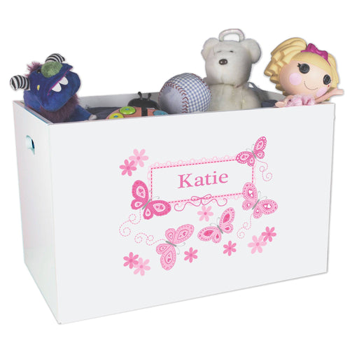 Personalized pink butterfly White Toy Box Bin