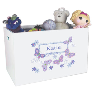 Open White Toy Box Bench with Butterflies Lavender design