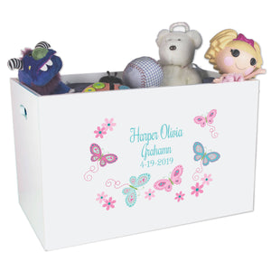 Open Top Toy Box - Butterflies Aqua Pink
