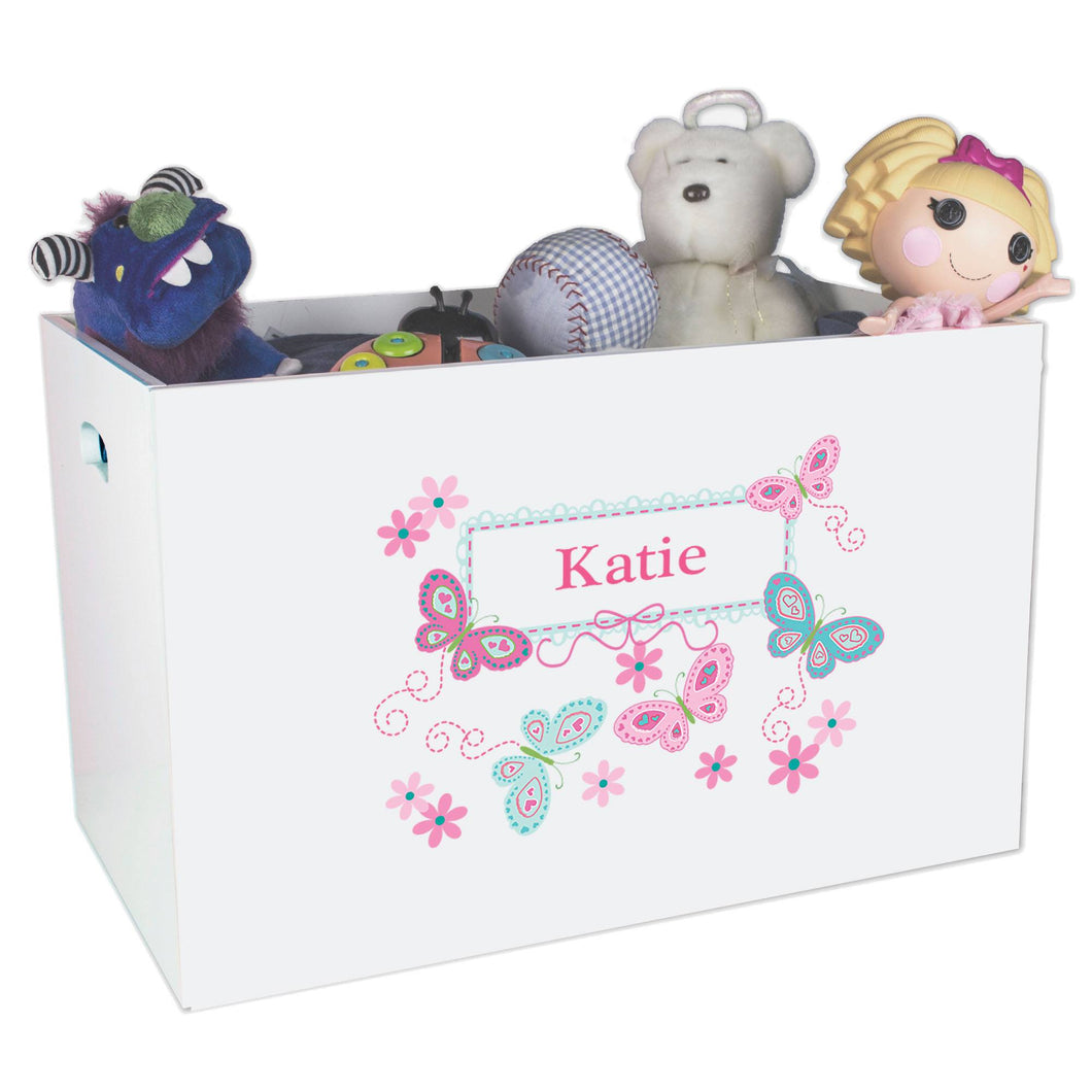 Open White Toy Box Bench with Butterflies Aqua Pink design
