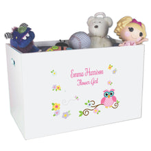 Open White Toy Box Bench with Pink Owl design