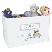 Open White Toy Box Bench with Gray Owl design
