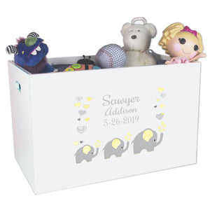 Open Top Toy Box - Yellow Elephants