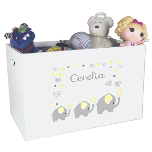 Open White Toy Box Bench with Yellow Elephants design