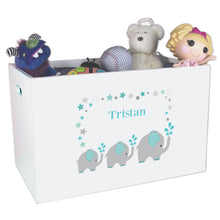 Open White Toy Box Bench with Grey and Teal Elephant design