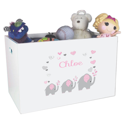 Open White Toy Box Bench with Pink Elephant design