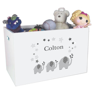 Open White Toy Box Bench with Gray Elephant design