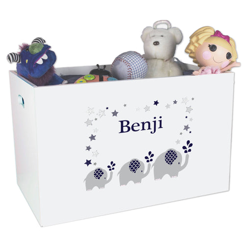 Open White Toy Box Bench with Navy Elephant design