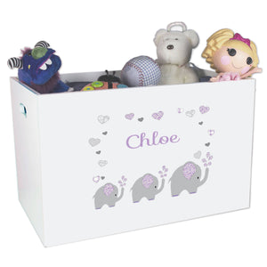 Open White Toy Box Bench with Lavender Elephant design