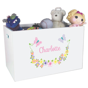Open White Toy Box Bench with Pastel Butterflies design