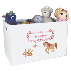 Open White Toy Box Bench with Ponies Prancing design