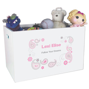 Open White Toy Box Bench with Paisley Pink Gray design