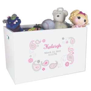 Open Top Toy Box - Paisley Pink Gray