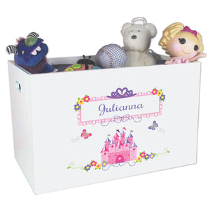 Girls Personalized Princess White Toy Box Bin
