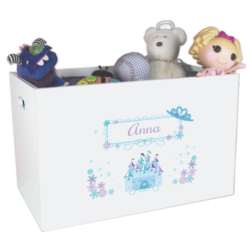Open White Toy Box Bench with Ice Princess design