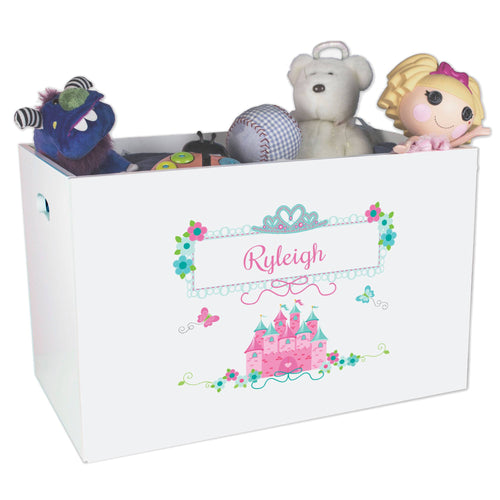 Open White Toy Box Bench with Pink Teal Princess Castle design