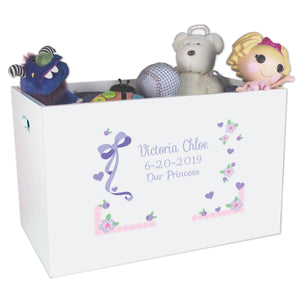 Open Top Toy Box - Lacey Bow