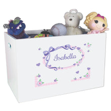 Personalized lavender mint green bow ribbon White Toy Box