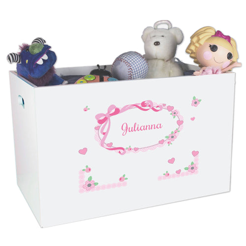 Open White Toy Box Bench with Pink Bow design