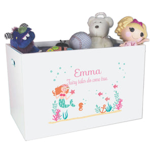 Open White Toy Box Bench with Mermaid Princess design