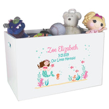 Open Top Toy Box - Brunette Mermaid Princess