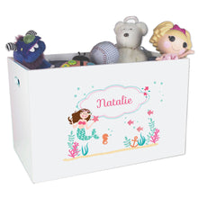 Open White Toy Box Bench with Brunette Mermaid Princess design