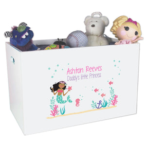 Open White Toy Box Bench with African American Mermaid Princess design