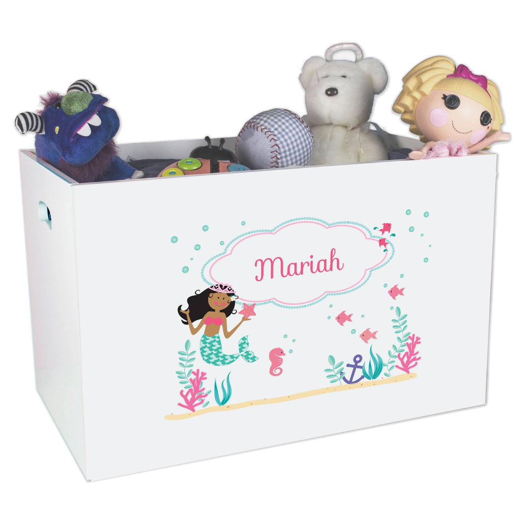 Personalized White Toy Box Bench with African American Mermaid