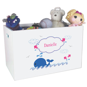 Open White Toy Box Bench with Pink Whale design