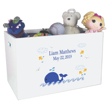 Open White Toy Box Bench with Blue Whale design