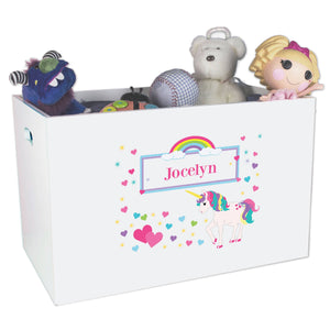 Girls Unicorn White Toy Box Bin