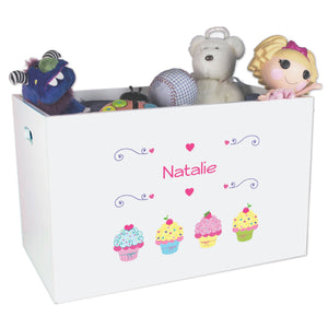 Open White Toy Box Bench with Cupcake design