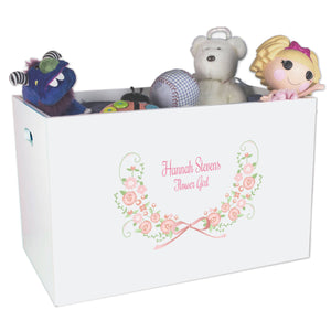 Open White Toy Box Bench with Blush Floral Garland design