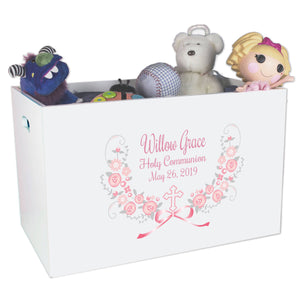 Open Top Toy Box - Hc Pink Gray Floral Garland