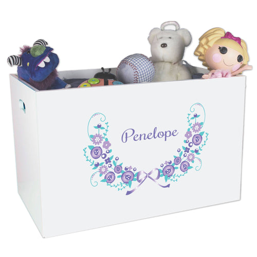 Open White Toy Box Bench with Lavender Floral Garland design
