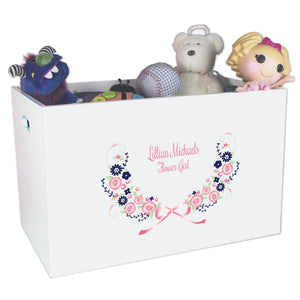 Open White Toy Box Bench with Navy Pink Floral Garland design