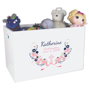 Open Top Toy Box - Hc Navy Pink Floral Garland