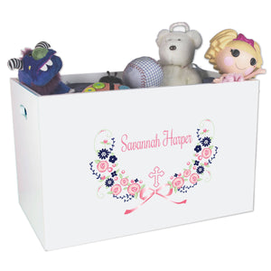 Personalized Cross and pink navy flowers Toy Box