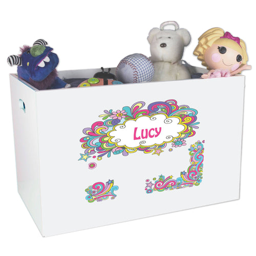 Open White Toy Box Bench with Groovy Swirl design