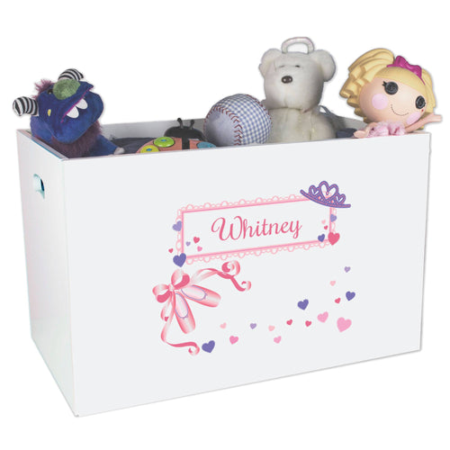 Open White Toy Box Bench with Ballet Princess design