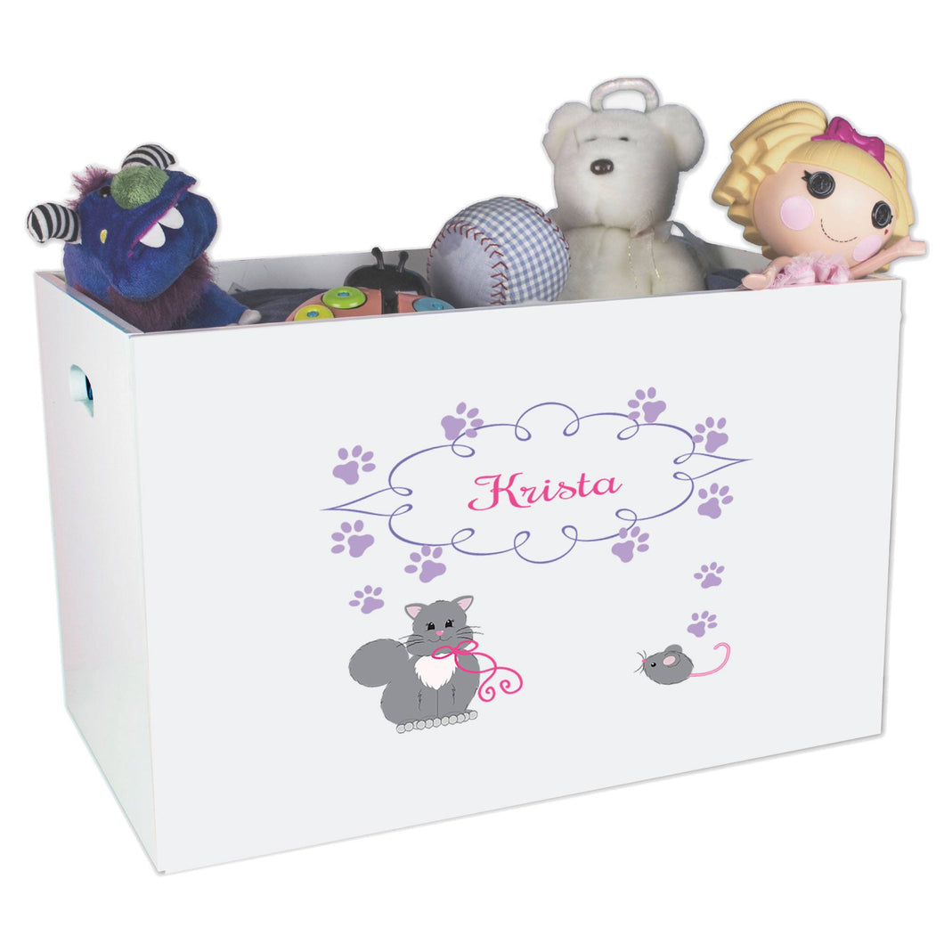 Open White Toy Box Bench with Kitty Cat design