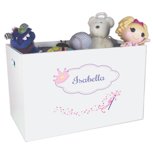 Open White Toy Box Bench with Fairy Princess design
