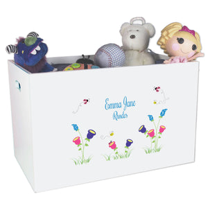 Open White Toy Box Bench with English Garden design