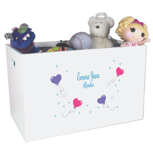 Open White Toy Box Bench with Heart Balloons design