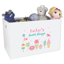Open White Toy Box Bench with Sweet Treats design