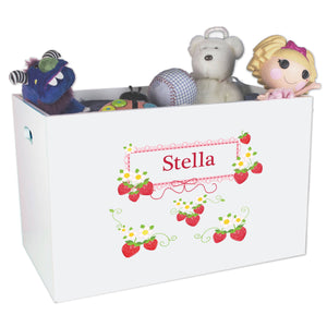 Open White Toy Box Bench with Strawberries design